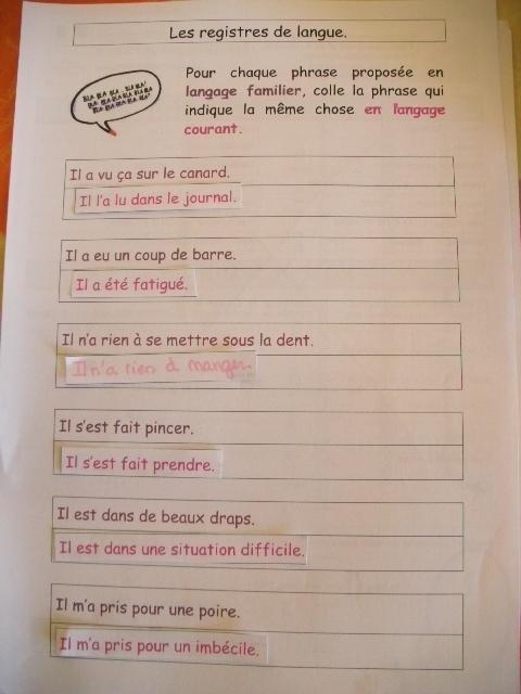Les registres de langue - le cours